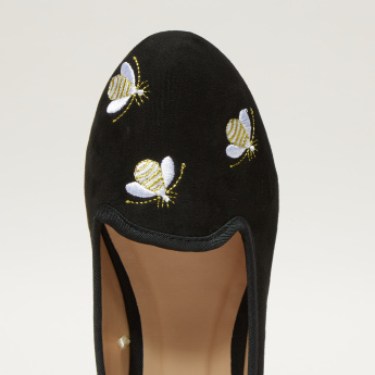 Embroidered Slip-On Ballerina Shoes