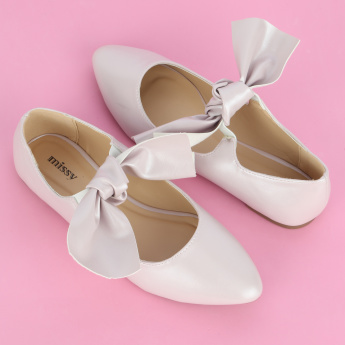 Missy Ballerina Shoes with Bow Detail and Elasticised Band