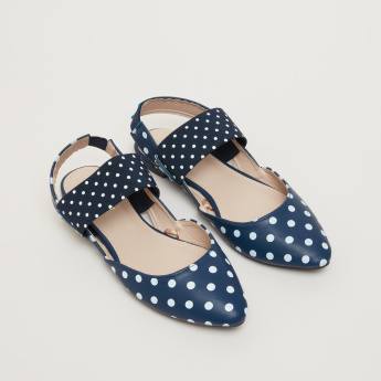 Polka Dot Printed Slip-On Shoes with Backstrap