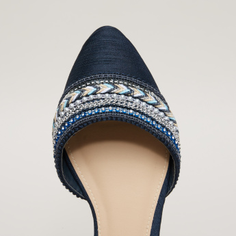 Embellished Sandals with Ankle Straps and Pin Buckle Closure