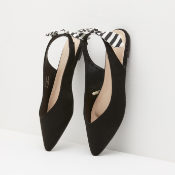 Sling Back Flats with Bow Accent