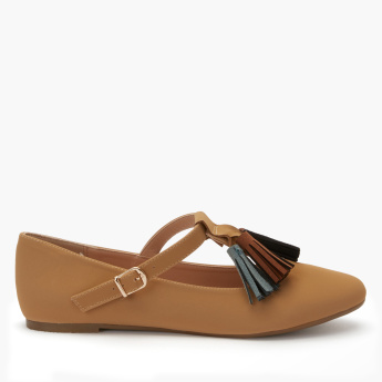Missy Tassel Detail Mary Jane Shoes with Buckle Closure