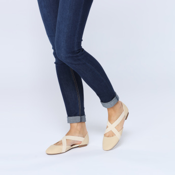 Missy Slip-On Shoes with Elasticised Crossed Straps