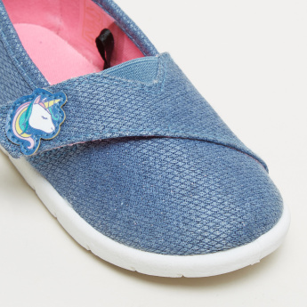 Textured Slip-On Shoes with Hook and Loop Closure