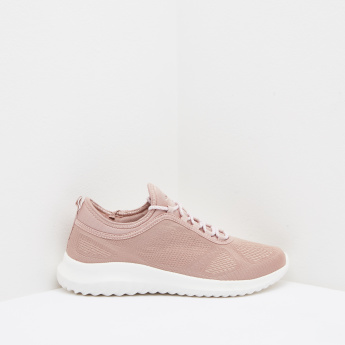 Textured Low Top Lace Up Walking Shoes
