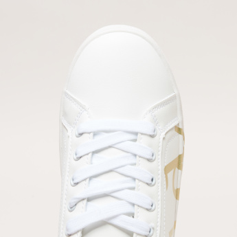 Printed Lace-Up Sneakers with Contrasting Backstay