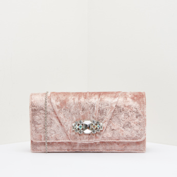 Celeste Textured Clutch with Stud Detail