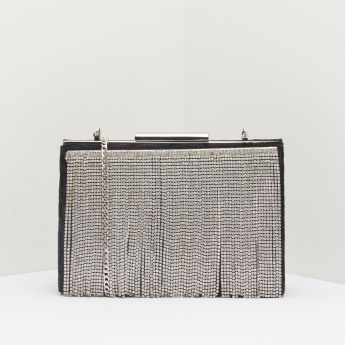 Celeste Fringed Crystal Detail Clutch with Metallic Chain