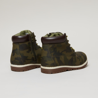Camouflage Printed High Top Boots with Zip Closure