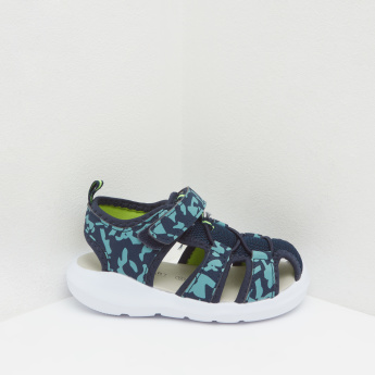 Camo Print Fisherman Sandals with Hook and Loop Closure