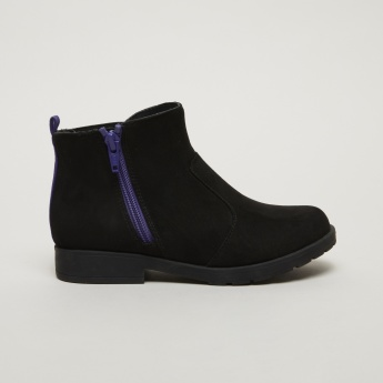 Stride Rite Textured High Top Boots with Side Zip Closure