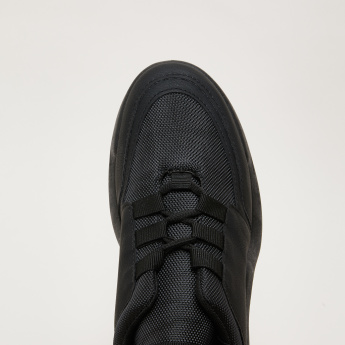 Textured Lace-Up Sneakers with Pull Tab
