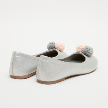 Slip-On Ballerina Shoes with Pom-Pom Detail