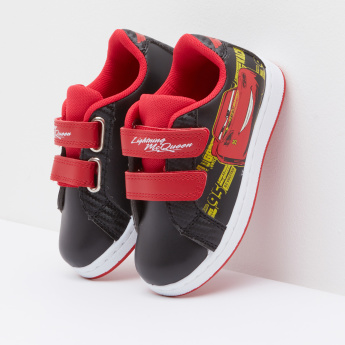 Lightning McQueen Printed Sneakers with Hook and Loop Closure