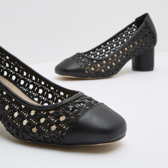 Weave Pattern Slip-On Shoes with Block Heels