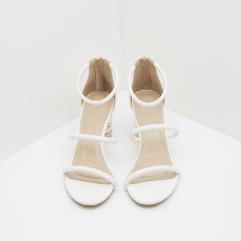 5e268d0f7619 Ankle Strap Sandals with Block Heels | White | Ankle Strap
