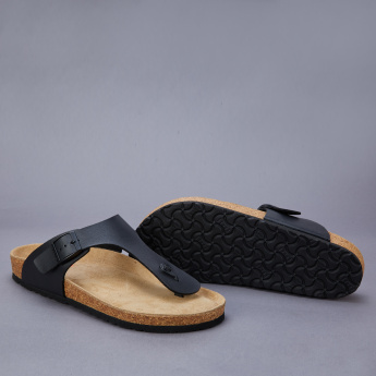 Le Confort Slides with Thong Strap and Buckle Detail