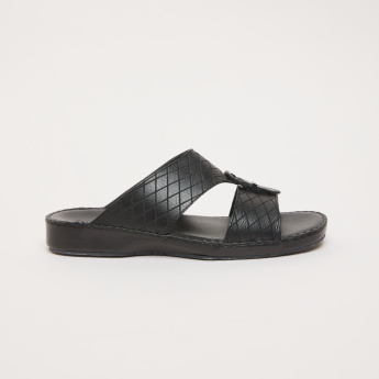 Duchini Textured Arabic Sandals with Pin Buckle Detail