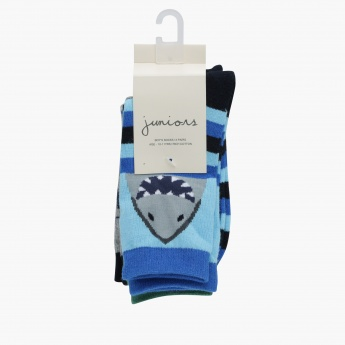 Juniors Printed Crew Length Socks - Set of 3