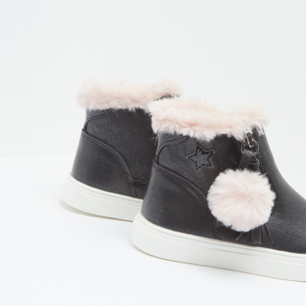Fur Embellished High Top Boots with Zip Closure and Pom-Pom Detail
