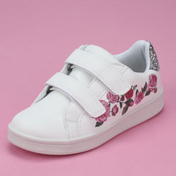 Little Missy Printed Sneakers with Hook and Loop Closure