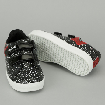 Minnie Mouse Embellished Sneakers with Hook and Loop Closure