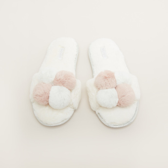 Missy Plush Bedroom Slides with Pom-Pom Detail