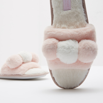 Fur Slide Slippers with Pom Pom Detail