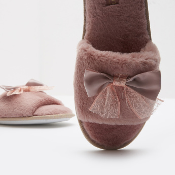 Plush Slide Slippers with Bow Accent and Slip-On Closure