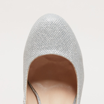 Textured Slip-On Pumps with Stiletto Heels