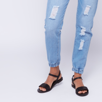 STEVE MADDEN Textured Sandals with Ankle Strap