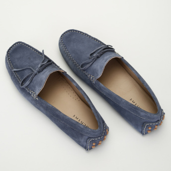 Duchini Slip-On Moccasin Shoes with Lace Up Detail