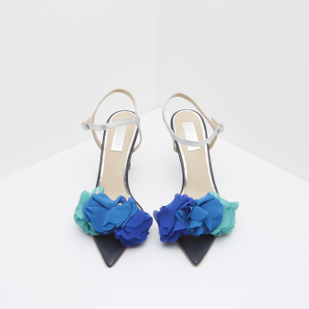 Floral Embellished Stilettos with Buckle Closure