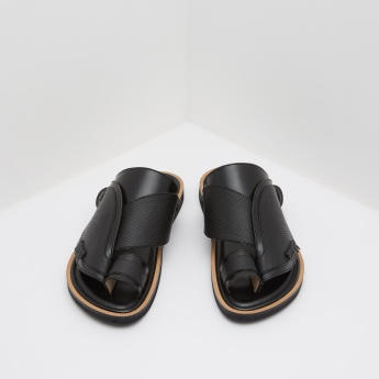 Al Waha Textured Arabic Sandals with Slip-On Closure