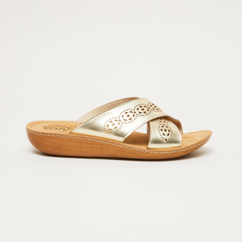 Cozy Cross Strap Slides with Laser Cut Detail