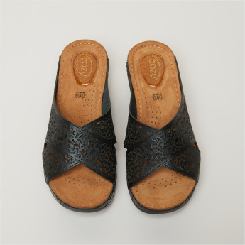 Cozy Crossed Strap Slides with Laser Cut Detail