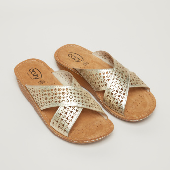Cozy Textured Cross Strap Slides