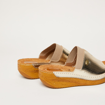 Textured Platform Slides with Elasticised Vamp Detail