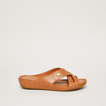 Cross Strap Slip-On Sandals with Flat Soles