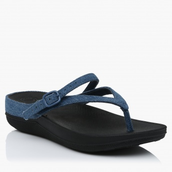 FitFlop Thong Slippers with Buckle Closure