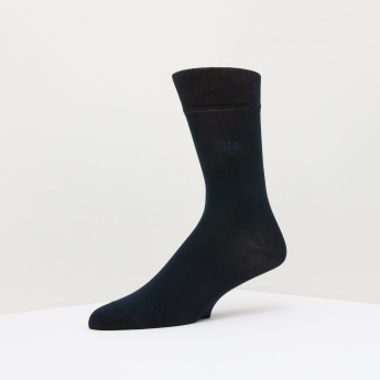 ELLE Embroidered Crew Length Socks
