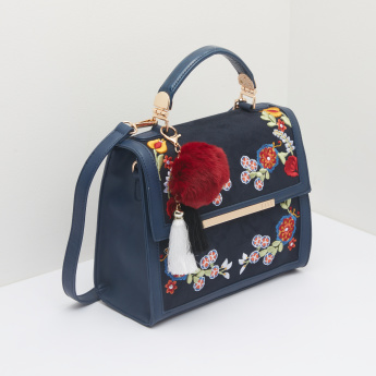 ELLE Embroidered Satchel Bag with Pom-Pom Detail