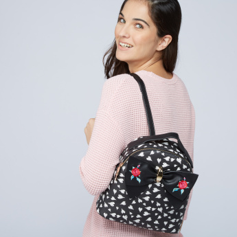 Missy Printed Backpack with Bow Detail
