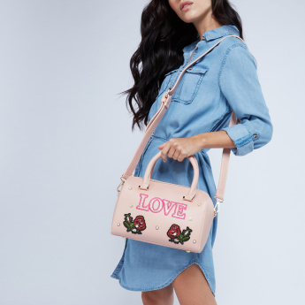 Missy Embroidered Bowler Bag with Pearl Detail