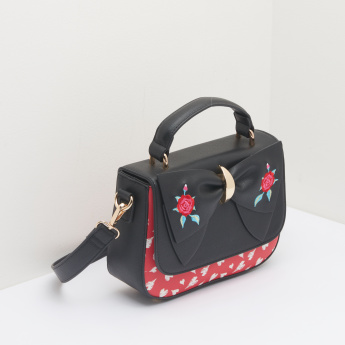 Missy Printed Satchel Bag with Embroidered Bow Detail