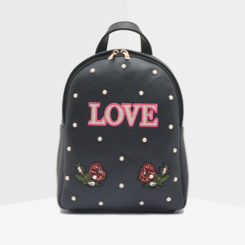 Missy Embroidered and Pearl Detail Backpack