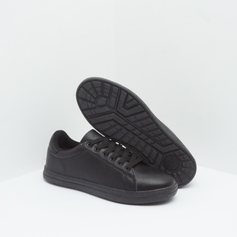 Stitched Detail Sneakers with Lace-Up Closure