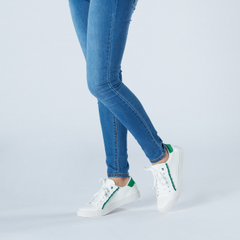Missy Lace-Up Sneakers with Ruffles