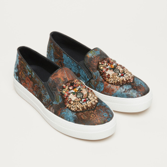 STEVE MADDEN Embellished Slip-On Shoes with Elasticised Gussets