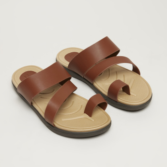 Textured Arabic Sandals with Toe Strap